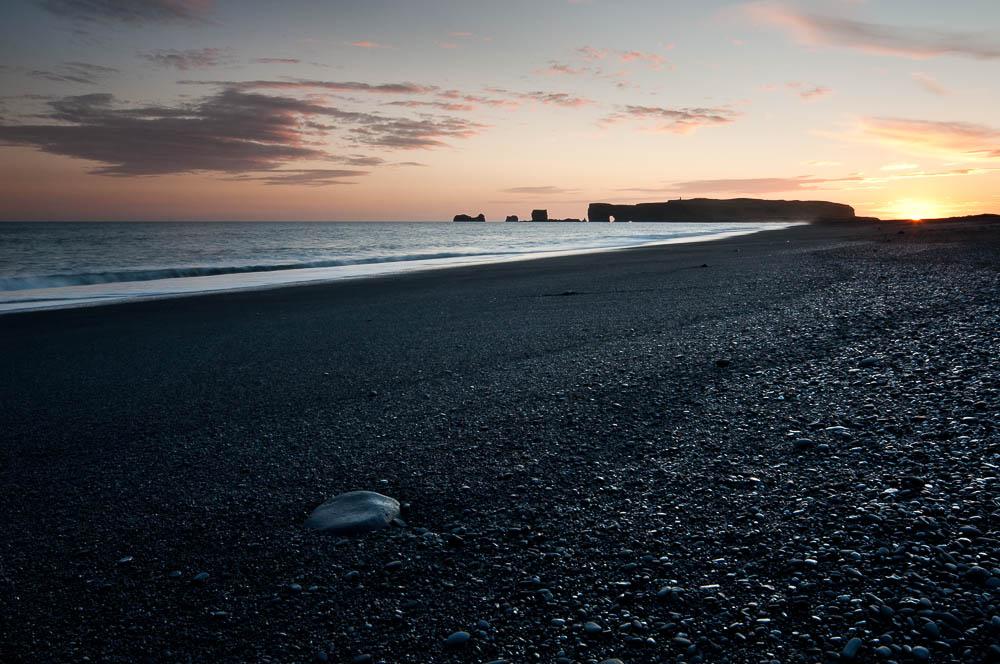 Sunset, Dyrholaey from Reynisfjara Beach